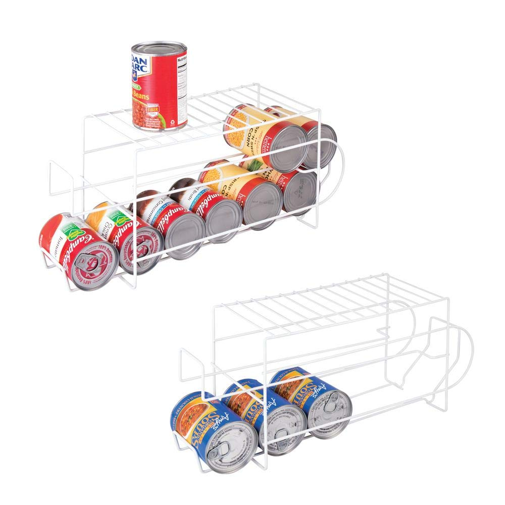 mDesign 2-Tier Metal Wire Standing Pop/Soda and Food Can Dispenser Storage Rack Organizer with Top Shelf for Kitchen Pantry, Countertop, Cabinet - Holds 12 Cans - 2 Pack - White by mDesign