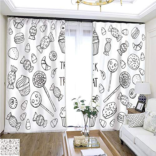 Air Port Screen Coloring Page with Sweets Halloween W108 x L85 Create Warmth in Winter Highprecision Curtains for bedrooms Living Rooms Kitchens etc. -