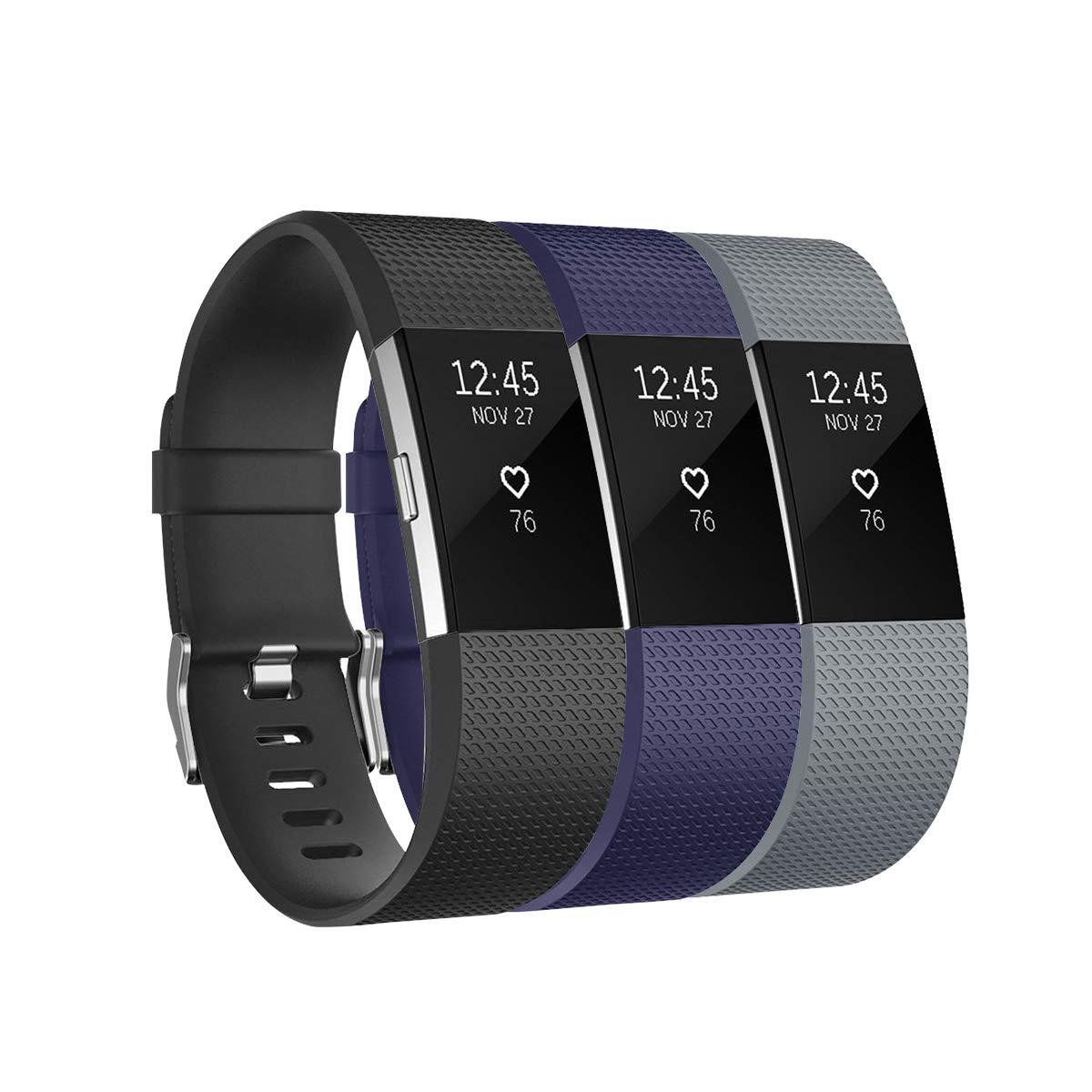 Fundro Fitbit Charge 2用バンド 3本パック ソフト交換用リストバンド ストラップ ラージ スモールバンド 安全なメタルクラスプ Fitbit Charge 2 B07GM58ZXL A# 3-Pack (Black+Gray+Navy Blue) Large (6.5\