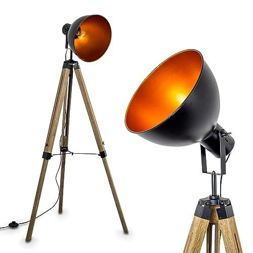 Lampadaire Egmont en métal de couleur noir et bois naturel - Luminaire sur pied pour salon - séjour - bureau - chambre à coucher - Lampe trépied ajustable en hauteur
