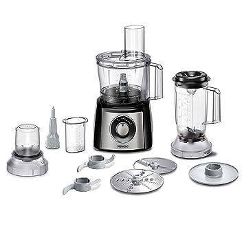 Siemens MK3501M Küchenmaschine, 800 W, 2,3 L Edelstahlrührschüssel,  Mixeraufsatz, Universalzerkleinerer