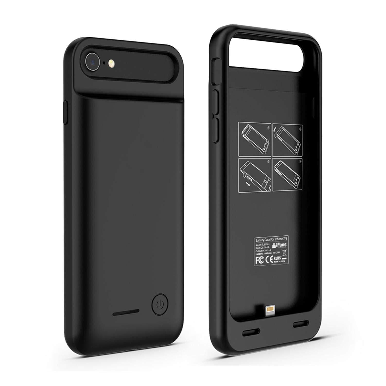 iFans Funda con Cargador de batería para iPhone 7 [Certificado Apple MFi] con batería incorporada de 3100mAh para iPhone 7 - Negro
