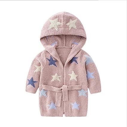 KOMEISHO Kids Star con Capucha Albornoz Pijamas para niños Ropa de Dormir niños y niñas Toalla