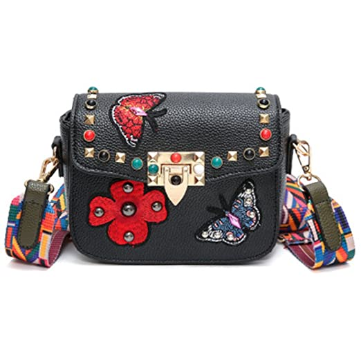 Butterfly Animal Pattern Women Bags Rivets Embroidery Floral Bag PU Leather Crossbody Bags Black women bags