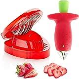 Strawberry Huller Fruit Slicer Set, Berry Stem Leaves Huller Gem Remover Removal Fruit Peeling Tool Kitchen Accessories Corer