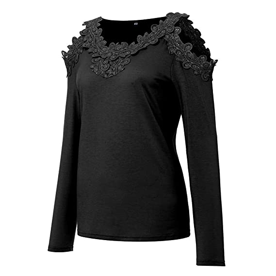 Womens Cold Shoulder Blouse Lace Patchwork Casual Basic Sexy Keyhole Tops Shirts at Amazon Womens Clothing store: