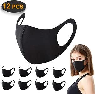 12 Pack gezichtsmaskers, ACMETOP anti-stofmasker, zijdeachtige aanraking Unisex mondmasker, herbruikbare en wasbare maskers voor hardlopen, fietsen, skiën motoren, buitenactiviteiten (zwart)