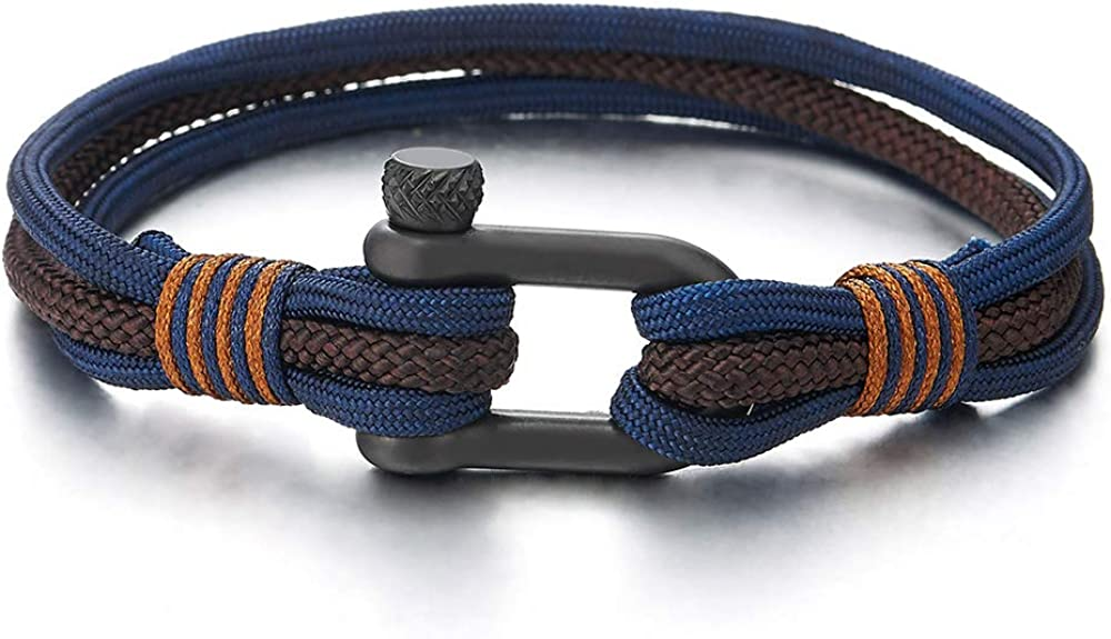 COOLSTEELANDBEYOND Mens Womens Steel Screw Anchor Shackles Nautical Sailor Navy Blue Brown Rope Wristband Wrap Bracelet