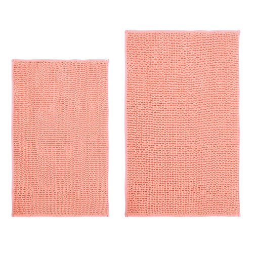 Hevice Soft Microfiber Non-Slip Bath Mats Shaggy Absorbent Chenille Bath Rugs For Bathroom, Bathtub Shower, Machine Washable Coral Pink 31