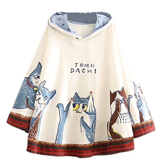 Cat Print Hoodies Hooded Cape Student Oversize Cute Pullover Sweatshirt (Color : Deep Blue, Size : F) at Amazon Womens Clothing store:
