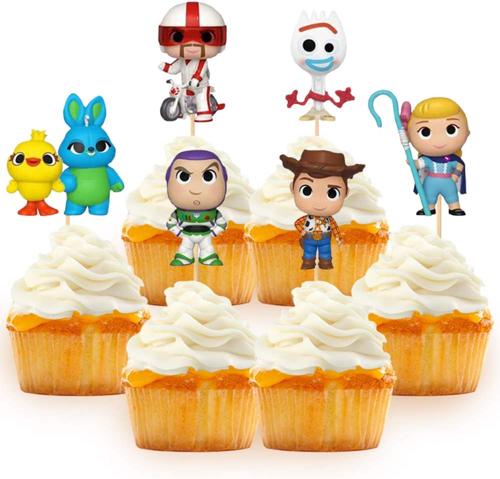Toy Inspired Cupcake Topper Cake Decoration for Baby Shower Birthday Party Supplies Food Pick - Set of 24