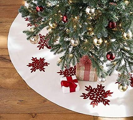 holiday embroidered snowflake christmas tree skirt white 60