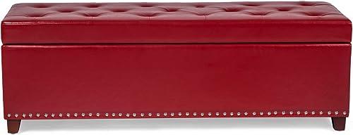 Edeco Rectangular Storage Ottoman Bench Transitional Storage Folding Toy Box Ottoman Storage Foot Rest