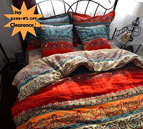 (FADFAY Boho Style Duvet Cover Set, Colorful Stripe Sheet Sets, Bohemia Bedding Set Baroque Style Bedding Set 4pcs Queen King Size (Flat Sheet, Queen))