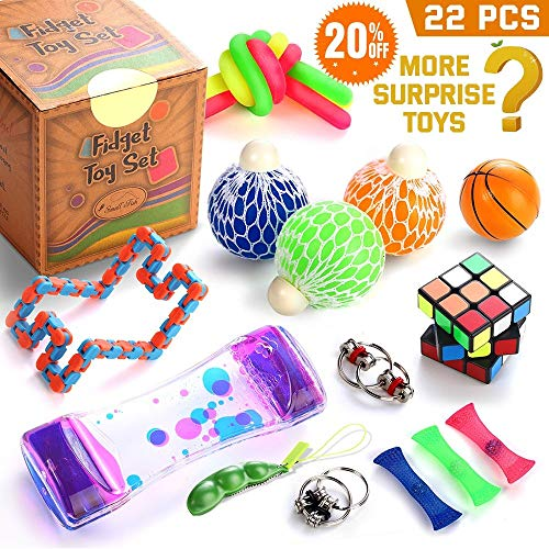 (Fidget Toys Set, 22 Pcs. Sensory Tools Bundle for Stress Relief and Anti-Anxiety for Kids and Adults, Marble and Mesh, Pack of Squeeze Balls, Soybean Squeeze, Flippy Chain, Liquid Motion Timer & More)