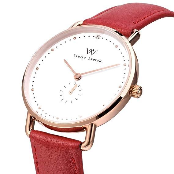 Welly Merck - Reloj de Pulsera para Mujer, Movimiento de Cuarzo Suizo, Minimalista,