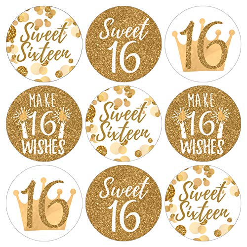 White and Gold Sweet Sixteen | 16th Birthday Party Favor Labels | 180 Stickers]()