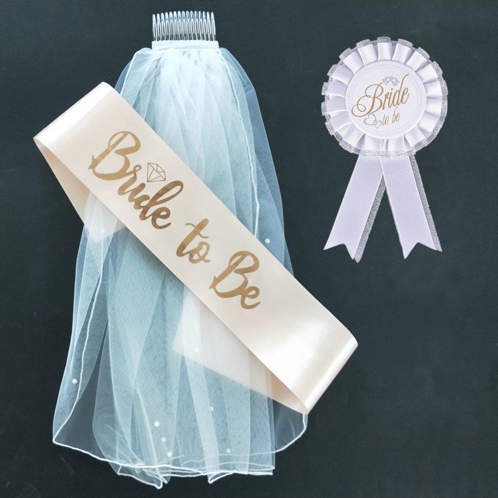 BigLion Hen Do veil Bride to be Sash Badge Wedding Bridal Shower Accessories Set Pack of 3