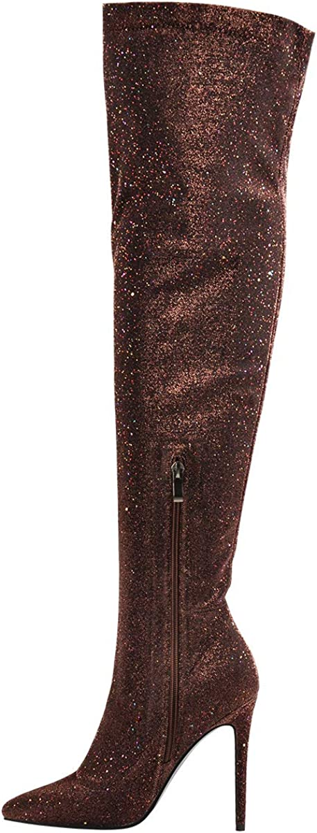 Onlymaker Womens Glitter Strech Pointed Toe Stiletto Heel Charming Zipper Side Over The Knee High Boots for Prom
