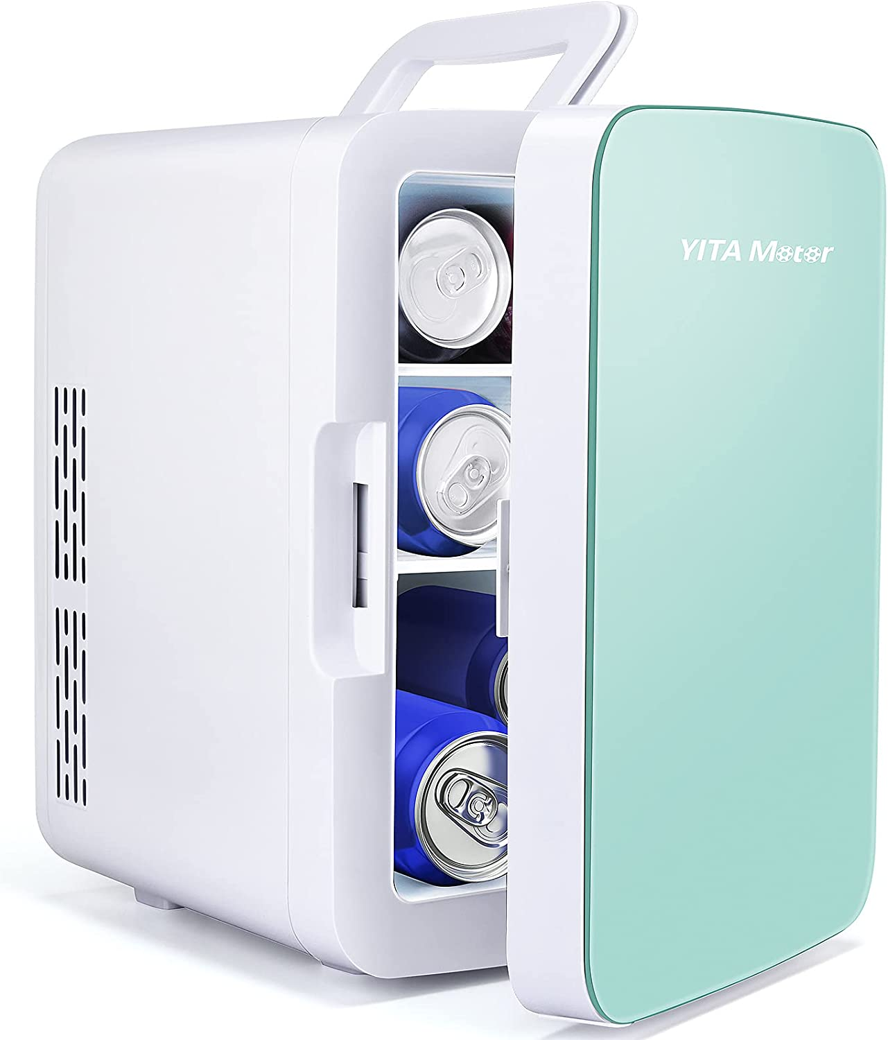 YITAMOTOR Mini Fridge 10 Liter/10 Can AC/DC Portable Compact Personal Lightweight Multiple Functional Cooler and Warmer,Great for Car,Bedroom,Office,Dorm,Travel (Green)