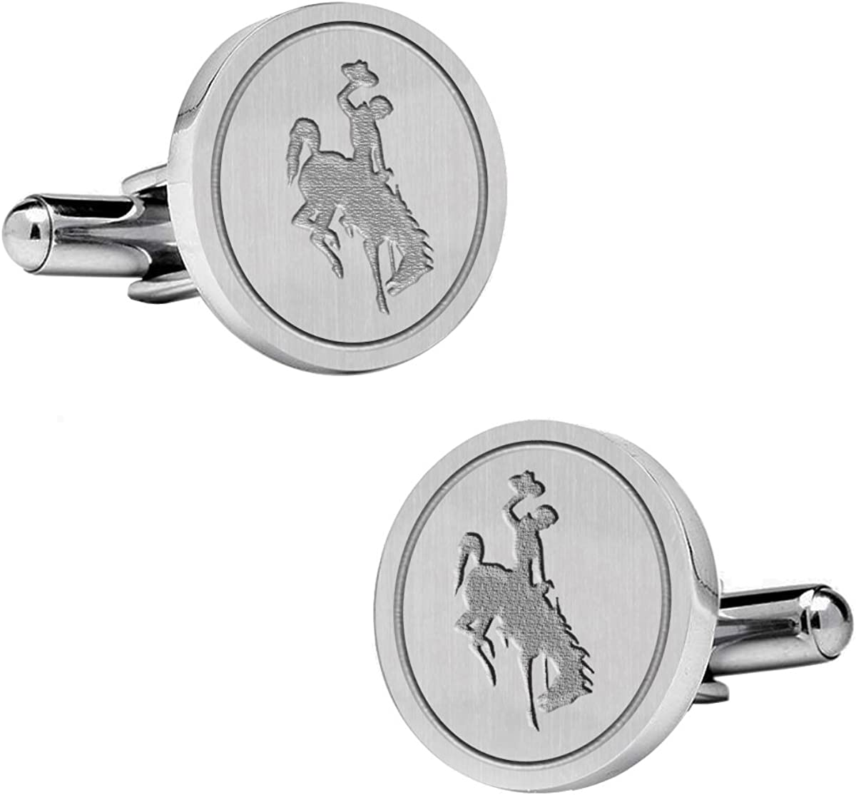 Natural Finish Sterling Silver Round Top Cufflinks College Jewelry University of Wyoming Cowboys Cufflinks