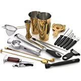 Barfly M37100 7-Piece Essentials Cocktail Set, Stainless 12-Piece Deluxe Gold
