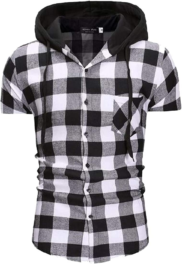 pipigo Men Vogue Classic Slim Plaid Short Sleeve Hooded Shirt