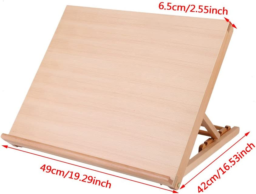 Adjustable A2 Tabletop//Desktop Sketching Board Drafting Easel Natural Beechwood Finish for Artist Student Kids Wood Drawing Board 19 x 16.5inch