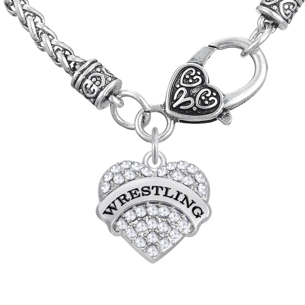 Stylish Wrestling Words Crystal Heart Pattern Pendant Chain Necklace Jewelry (wheat chain, 50 cm, white)