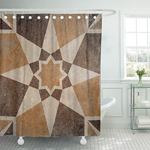Emvency Shower Curtain Rustic Marble Floor Tiles Pattern Porcelain Wall for Abstract Waterproof Polyester Fabric 60 x 72 Inches Set with Hooks ()