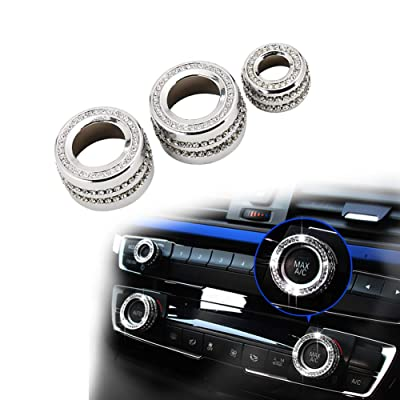 PGONE Bling Crystal Interior Decorations Compatible AC Knob Caps Air Conditioning Cover for BMW Accessories Parts 2 3 4 Series X3 X4 X5 X6 F30 F31 F15 F16 G01 F82 F83 iDrive AWD Women: Automotive