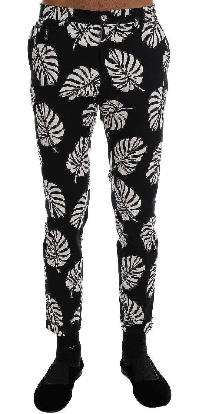 Dolce /& Gabbana White Black Leaf Cotton Stretch Slim Pants