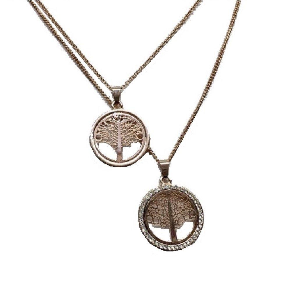 Kette Halskette 2 reihig mit Lebensbaum Stammbaum als Anhänger mit Strasssteinen