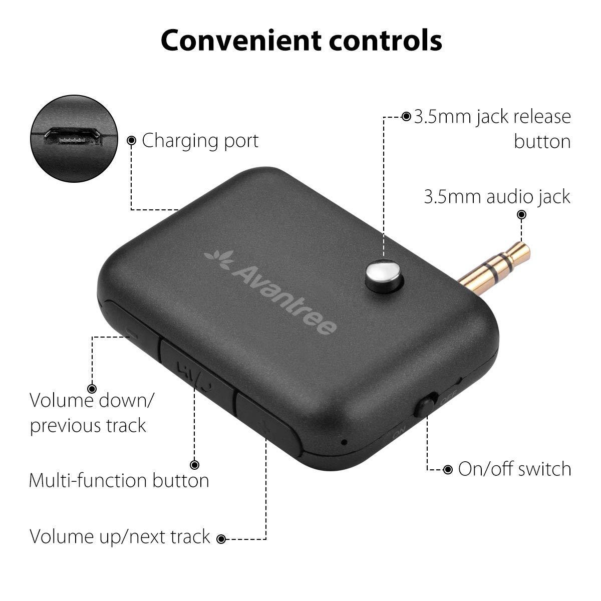 Dual Link /& Asistente de Voz Kit Manos Libres con Adaptador de Audio 3.5mm AUX para Est/éreo Avantree CK210 Receptor Bluetooth 4.1 para Coche