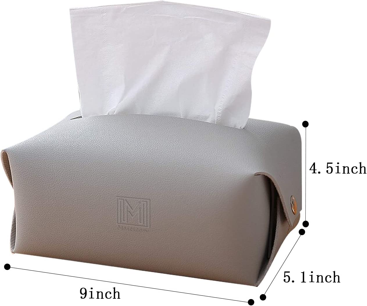 Maicican Stylish PU Leather Tissue Box Holder, Square Napkin Holder Pumping Paper Case Dispenser, Facial Tissue Holder for Bathroom, Bedroom or Office (Grey, Rectangle): Home & Kitchen