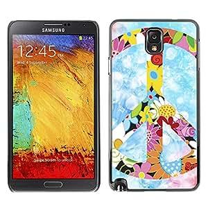 Caucho caso de Shell duro de la cubierta de accesorios de protección BY RAYDREAMMM - Samsung Galaxy Note 3 N9000 N9002 N9005 - Peace Hippie Symbol Colorful Flowers Spring