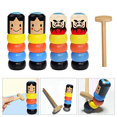Volwco 4Pcs Immortal Daruma Magic Trick, Wooden Doll Man Magic Toy Stage Magic Props, Funny Wooden Magic Toy for Kids: Toys & Games