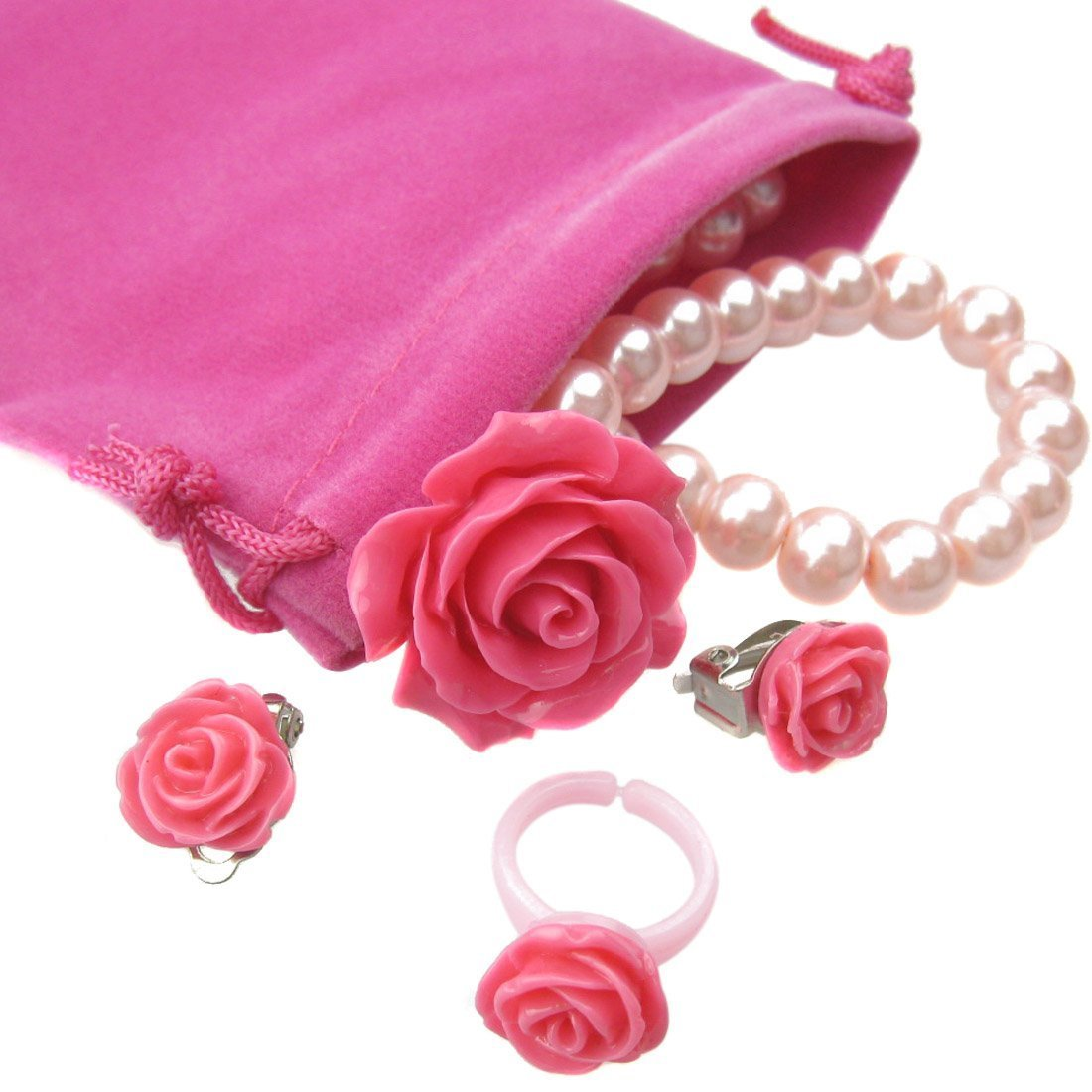 kilofly Princess Jewelry Value Pack of 4, Necklace, Bracelet, Earrings, Ring