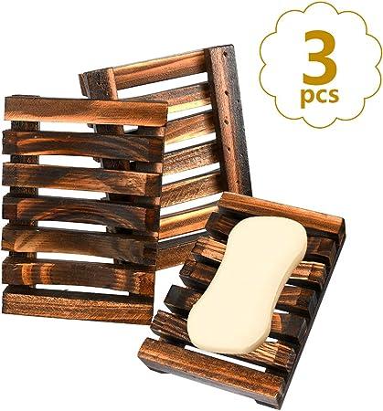 Accessori Bagno Legno Grezzo.Buygoo Portasapone Legno Naturale Porta Sapone 3pz Scatola Di