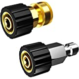 """POHIR Pressure Washer Adapter Set Quick Connect Kit,M22 14mm X 3/8"""" Male Plug Female Socket, Brass Pressure Washer Quick Conn"""