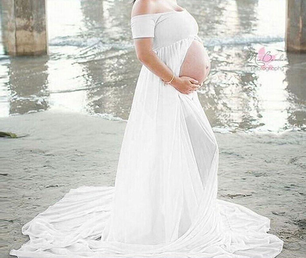 Las mujeres embarazadas atractivas accesorios de fotografía dividir frente de hombro vestido para mujeres embarazadas Fotos disparar vestido, ...