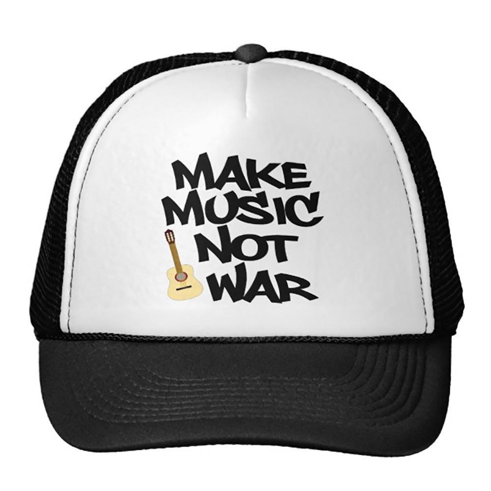 Make Music Not War Acoustic Guitar Trucker Hat Black