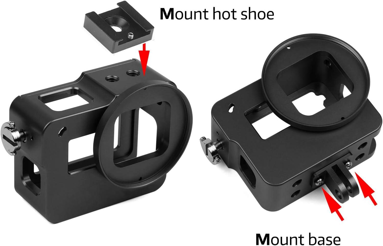 Filtre UV 52mm SHOOT Alliage daluminium M/étal Squelette Coque de protection Bo/îtier Bo/îtier Coque avec porte arri/ère noir Chaussure chaude pour Gopro Hero 5 Action cam/éra