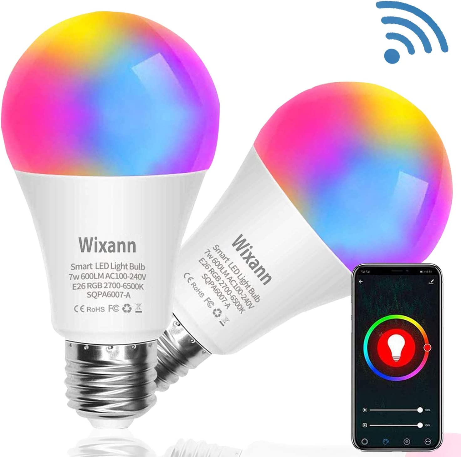 Wixann Smart WiFi LED Light Bulb, Compatible with Alexa Google Home Siri (No Hub Required), A19 E26 Multi Color Changing Bulb RGBCW 2.4G 7W 60W Equivalent 2 Pack