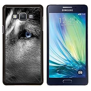 Husky siberiano Blue Eye Cerrar Dog Face- Metal de aluminio y de plástico duro Caja del teléfono - Negro - Samsung Galaxy A7 / SM-A700