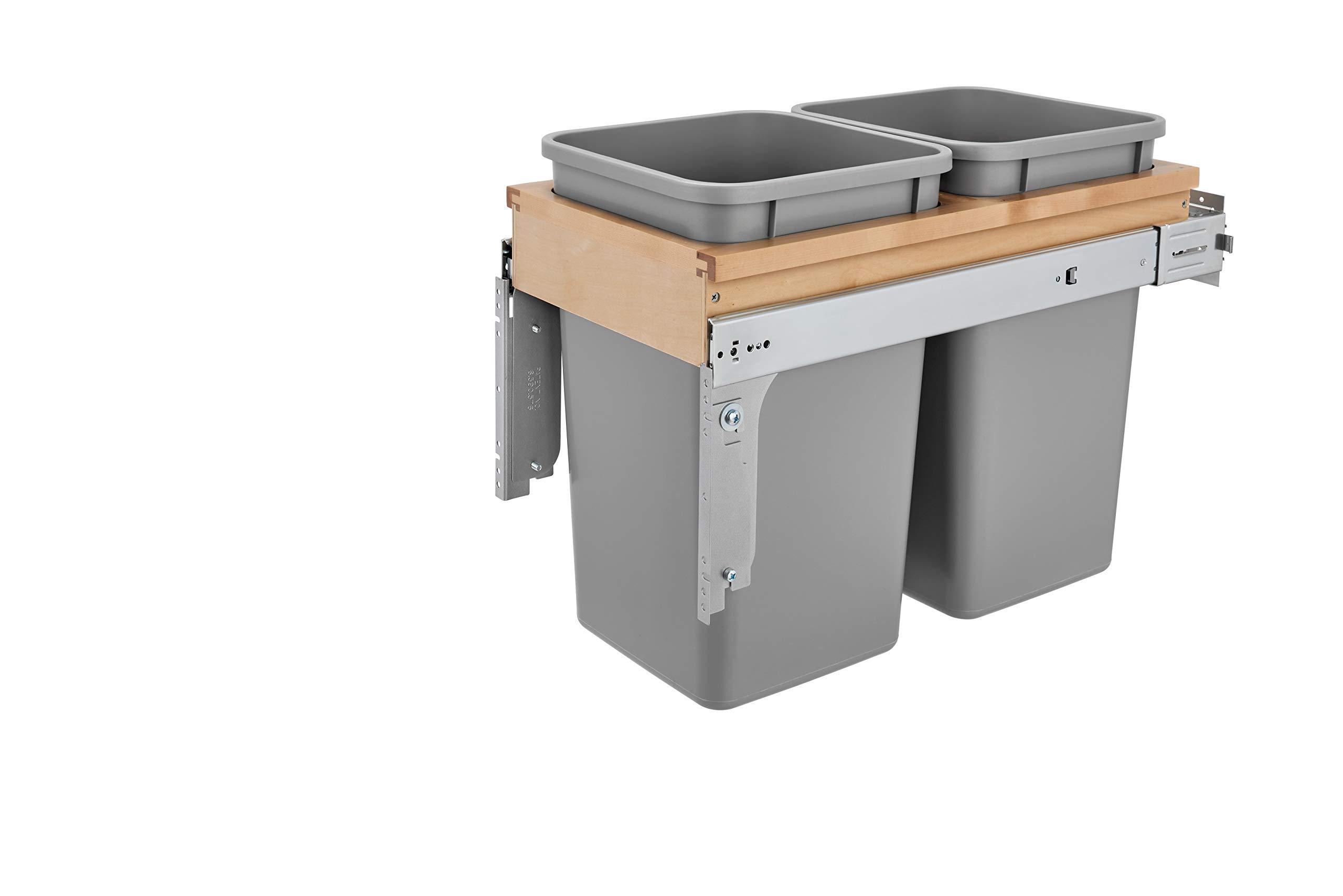 Rev-A-Shelf Dbl 27 QT Top Mount Waste Container, Quart, Natural