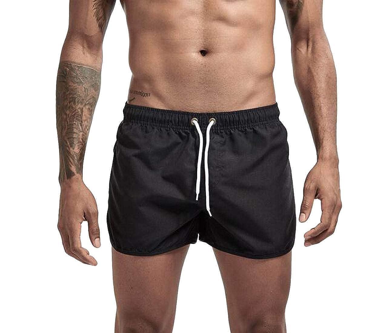 Zantt Men Solid Drawstring Quick Dry Beach Sport Shorts Swim Trunk