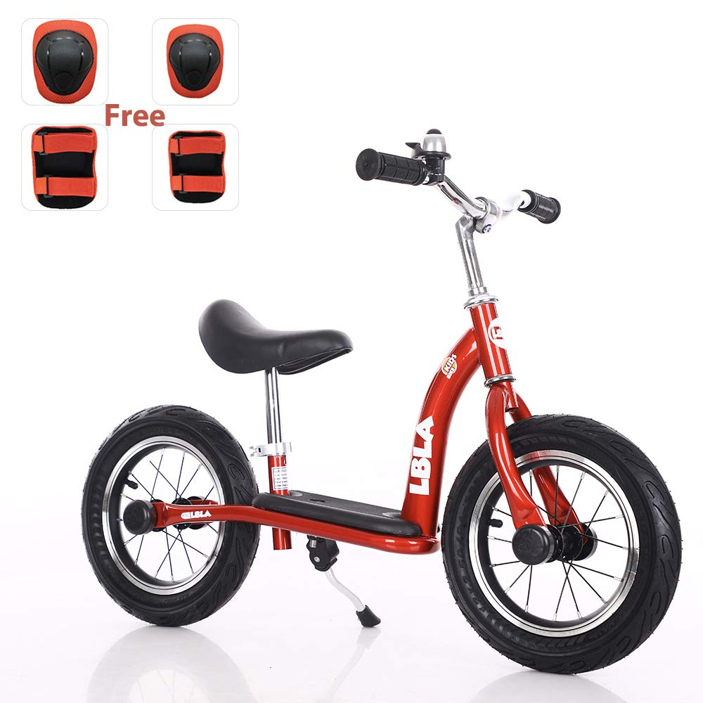 Kids Balance Bike, No Pedal Toddler Bike with Carbon Steel Frame Adjustable Handlebar and Seat 12inch Toddler Walking Bicycle for Kids 2 to 6 Years Old(red)