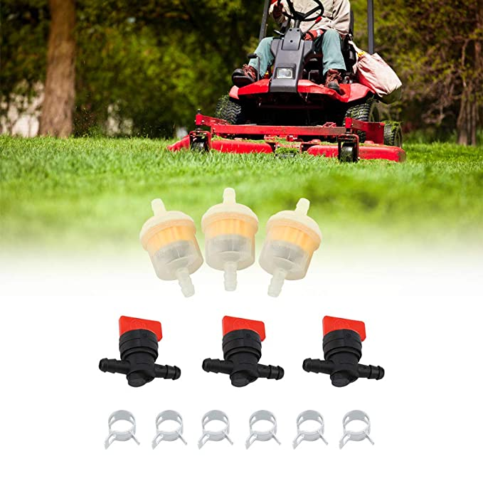Clamps for Lawn Mower Parts Accessories Fuel Gas Tank Shut Off Valves GLOGLOW Fuel Shut Off Valve Service Kit Filters