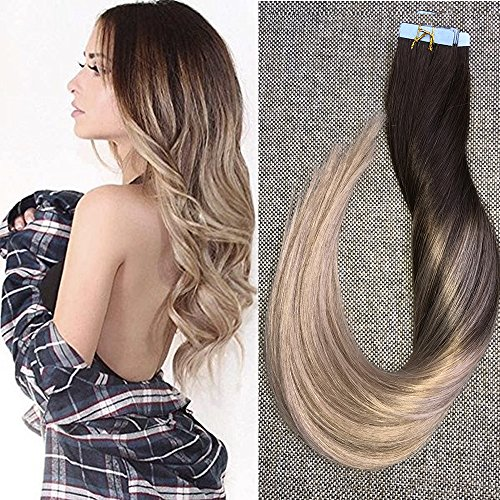 Beauty : Full Shine 18 inch Human Hair Extensions of Glue in Hair Extensions Real Hair Ombre Balayage Hair Color 4 Fading to 18 50g 20Pcs Per Package